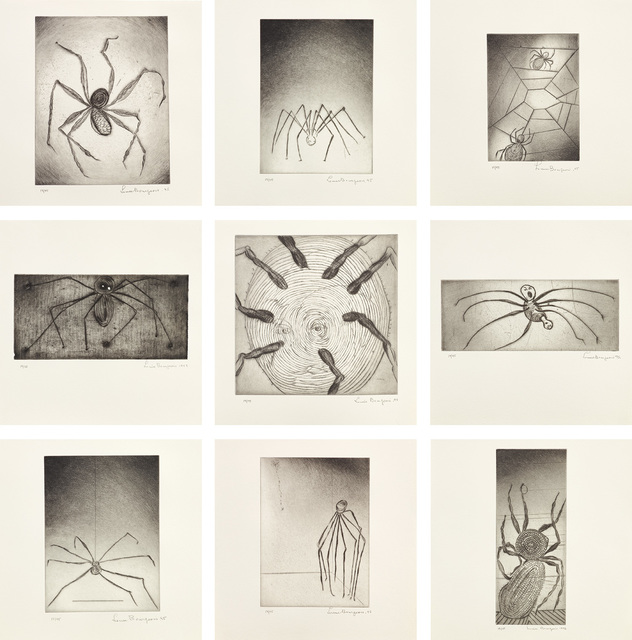 Louise Bourgeois, 'Ode à Ma Mère (Ode to My Mother) (MoMA 4b-12b)', 1995, Print, The complete set of nine drypoints, eight with selective wiping, one with monoprinting and embossing, on Dieu Donné paper, with full margins., Phillips