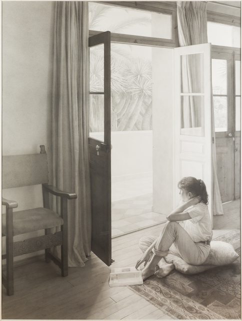 Claudio Bravo, 'Interior with Girl', 1991, Drawing, Collage or other Work on Paper, Black conte crayon on paper, Childs Gallery