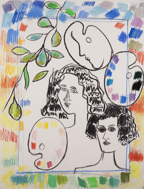Fay Lansner, 'Heads Palette + Border', 1990, Quogue Gallery