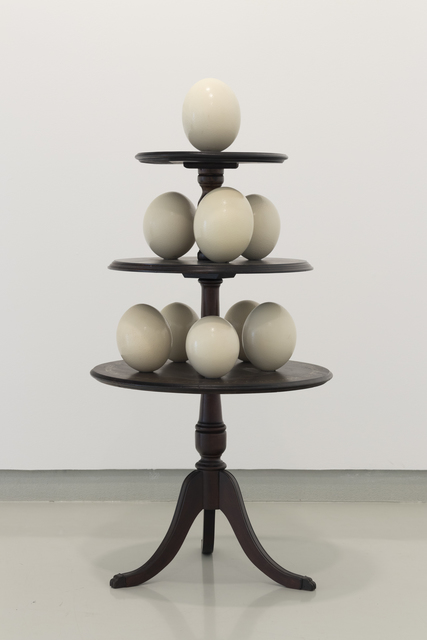 Vasco Araújo, 'Exotismo – And I am also thinking of tomorrow', 2019, Sculpture, Wooden table, 9 ostrich eggs and painted text, PRESENÇA