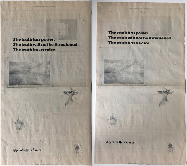 Terri Thornton, 'New York Times Truth Campaign: Five Difficulties (Diptych) ', 2018-2019, Drawing, Collage or other Work on Paper, Pencil on January 2, 2018 issue of New York Times, Barry Whistler Gallery