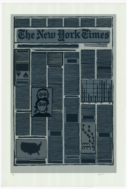 Derek Boshier, 'New York Times Financial Section', 2014, Print, Linocut printed in colours, Sims Reed Gallery