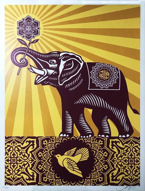 Shepard Fairey, 'Holiday Peace Elephant', 2015, Print, Screenprint on paper, EHC Fine Art