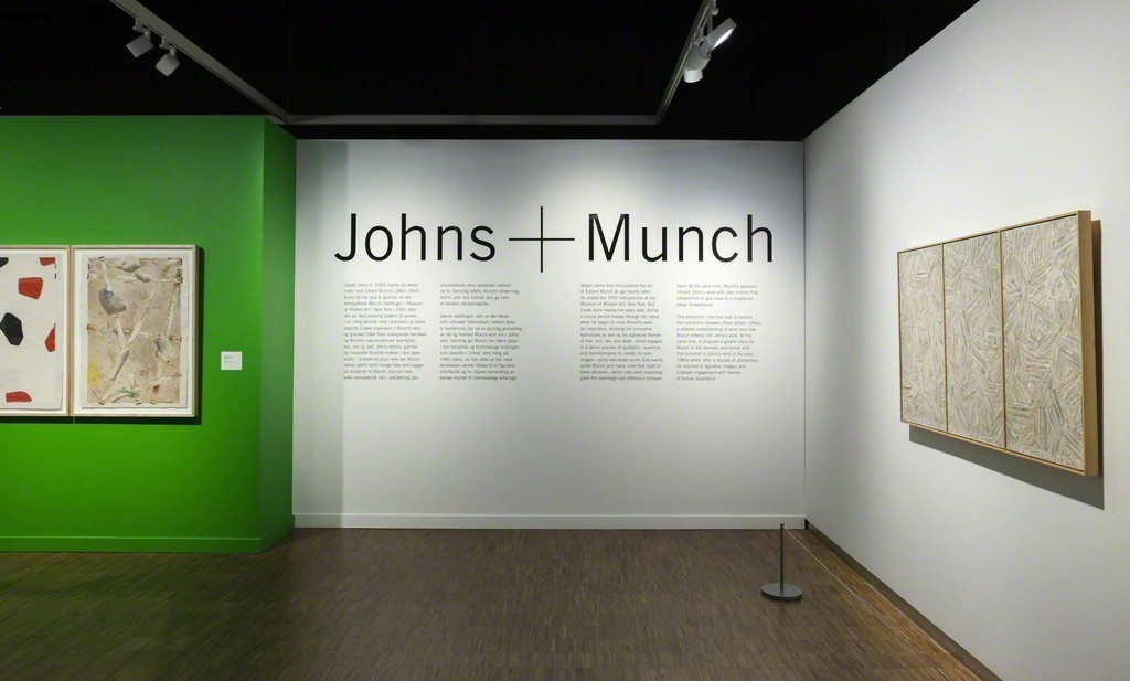Installation photograph from Jasper Johns & Edvard Munch: Love, Loss, and the Cycle of Life