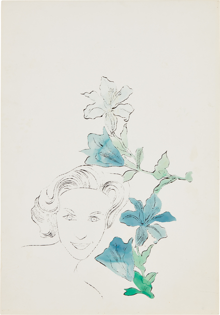 Andy Warhol, 'Female Head (With Blue Flowers)', ca. 1950, Phillips