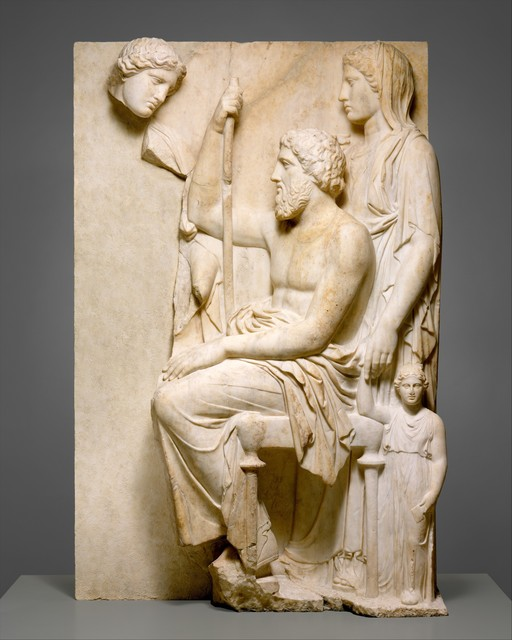 Unknown Greek, 'Marble grave stele with a family group', ca. 360 B.C., The Metropolitan Museum of Art
