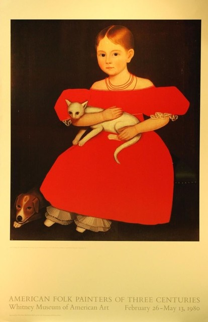 "Ammi Phillips, 'American Folk Painters of Three Centuries, Whitney Museum of American Art, February 26-May13, 1980: ""Girl in Red with her Cat and Dog"", 1834-1836', 1980, The Loft Fine Art"