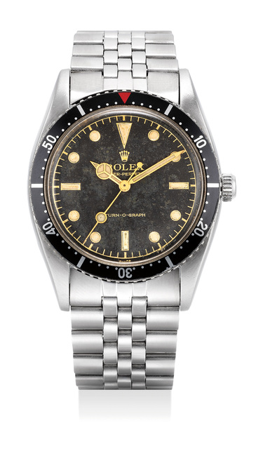 Rolex, 'An extremely fine and very rare stainless steel wristwatch with sweep center seconds, gilt dial and bracelet', 1954, Phillips