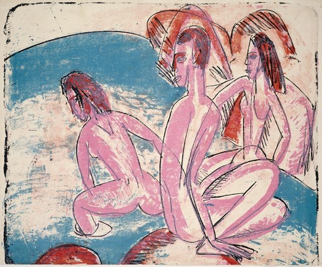 Ernst Ludwig Kirchner, 'Three Bathers by Stones (Drei Badende an Steinen)', 1913, National Gallery of Art, Washington, D.C.