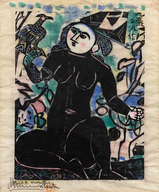 Shiko Munakata, 'Hawk Woman', Print, Woodcut With Handcoloring, Hindman