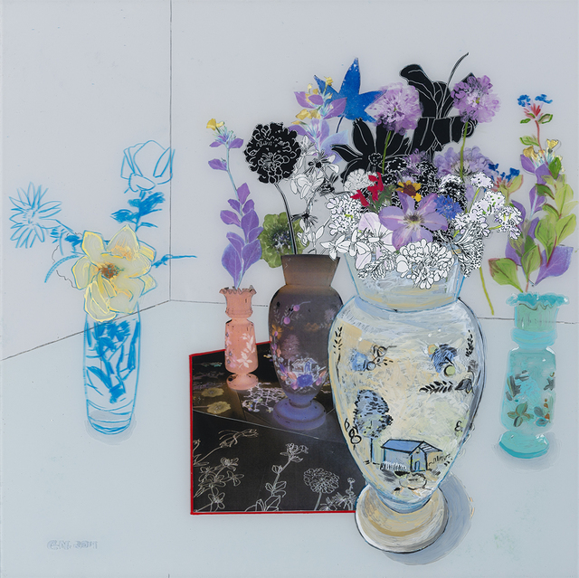 Gail Norfleet, 'Interior with Flower Vases', 2019, Painting, Acrylic, litho pencil, china marker, and collage on Lucite, Valley House Gallery & Sculpture Garden