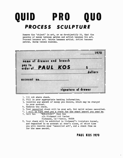 , 'Quid Pro Quo,' 1970, Anglim Gilbert Gallery