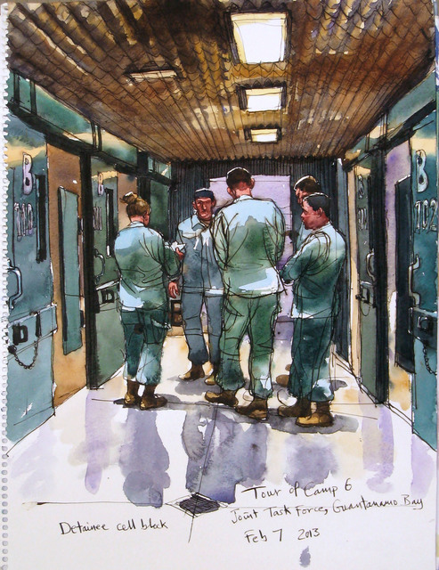 , '2//7/13 Detainee cell block, Tour of Camp 6, Joint Task ForceCamp Delta, Guantanamo Bay, Cuba,' , Postmasters Gallery