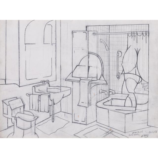 Valerio Adami, 'Bathroom, New York, 26.1.68', 1968, PIASA