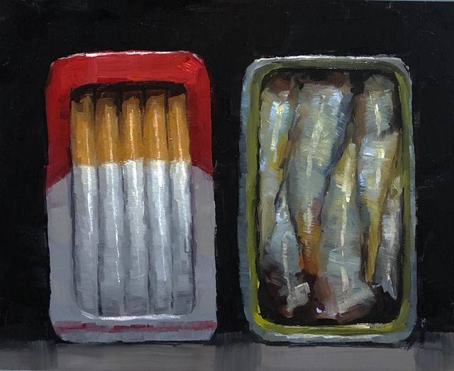 Tom Giesler, 'Smoked #2: smoked sardines and cigarettes', 2019, Painting, Oil on panel, McVarish Gallery