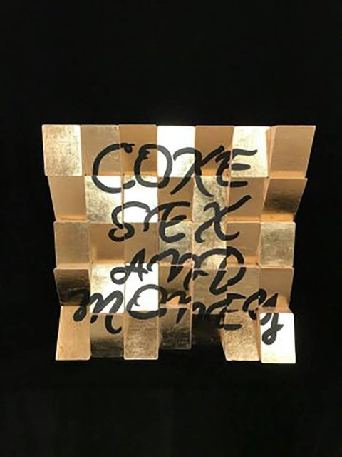 , 'Coke, Sex and Money, Acrylic Paint, Gold Leaf on Canvas Wooden Blocks Signed,' 2018, Flat Space Art