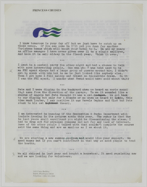 """, 'Untitled (""""I know tomorrow is your day off...""""),' 1970-1971, The Metropolitan Museum of Art"""