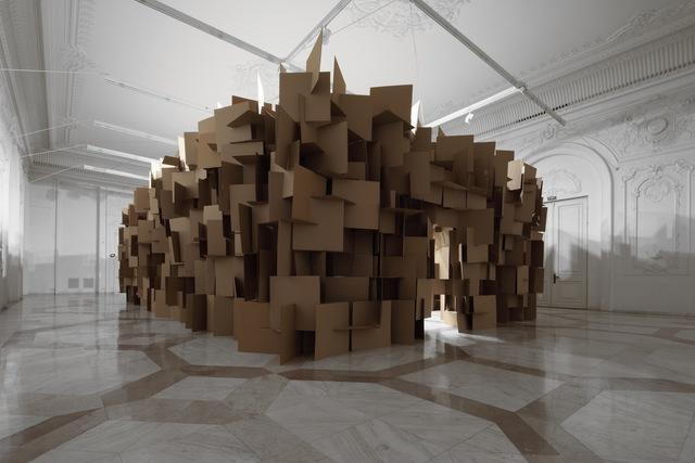 Zimoun, '200 prepared dc-motors, 2000 cardboard elements 70x70cm', 2011, bitforms gallery