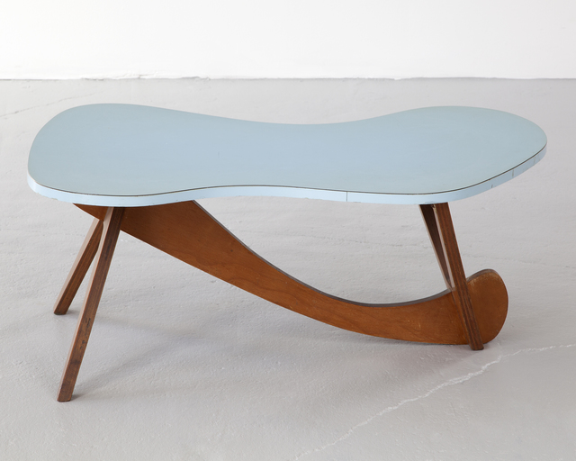 , 'Coffee table with sky blue laminate top,' 1950s, R & Company