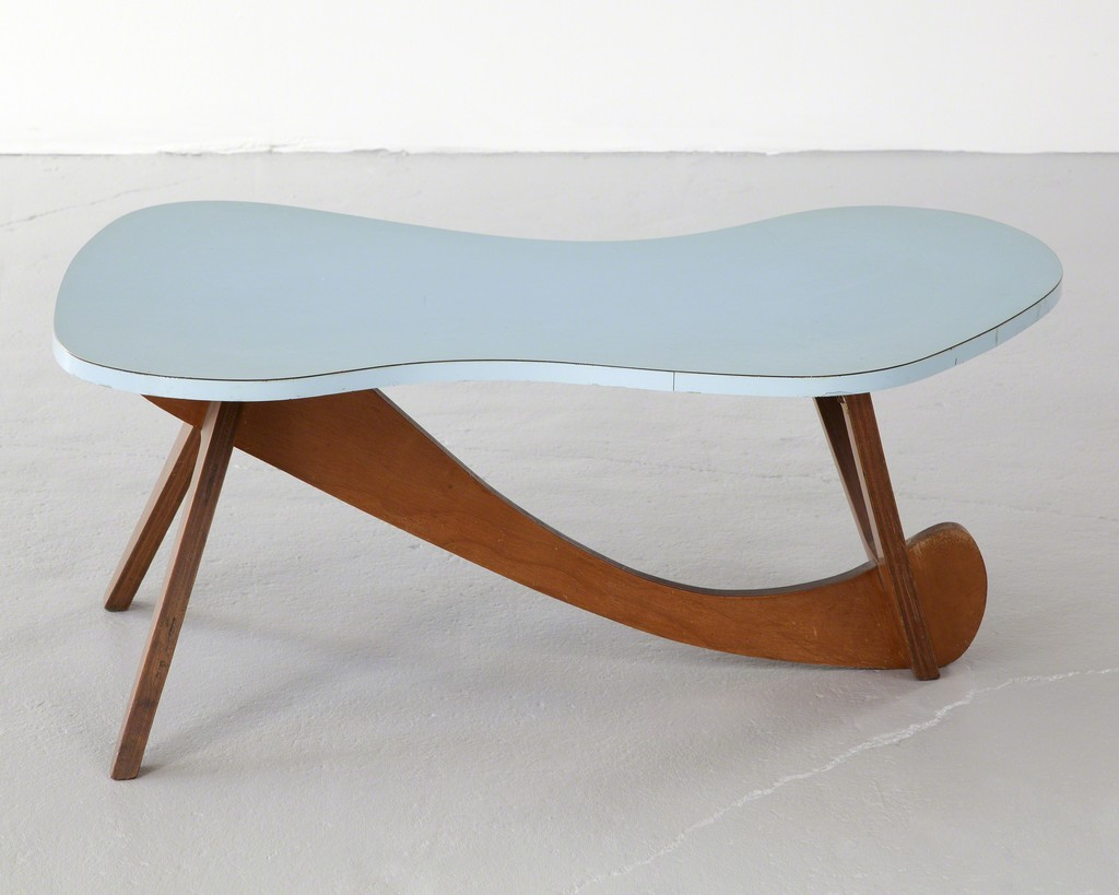 Coffee table with sky blue laminate top