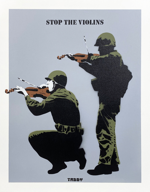 TABBY, ''Stop the Violins' (grey) HPM', 2020, Painting, Acrylic spray paint/stencil on thick, cotton canvas panel., Signari Gallery