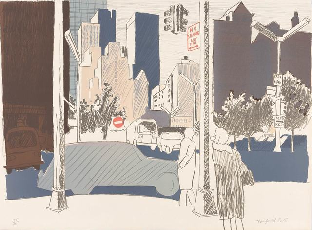 Fairfield Porter, 'STREET SCENE (L. 18)', 1969, Print, Color lithograph on cream Arches paper, Doyle
