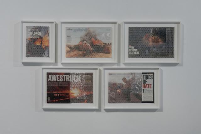 , '(Geometries) Fire I, (Geometries) Fire V, (Geometries) Fire VI, (Geometries) Fire IV, (Geometries) Fire III,' 2017, Los Angeles Contemporary Exhibitions