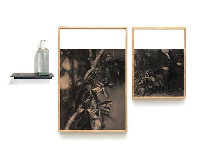 Ivan Grilo, 'Verdades tropicais #1 ', 2019, Photography, Impressão em papel algodão, garrafa em vidro, prateleira em ferro, cachaça, Luciana Caravello Arte Contemporânea