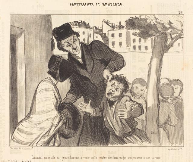 Honoré Daumier, 'Comment on décide un jeune homme a venir...', 1846, National Gallery of Art, Washington, D.C.