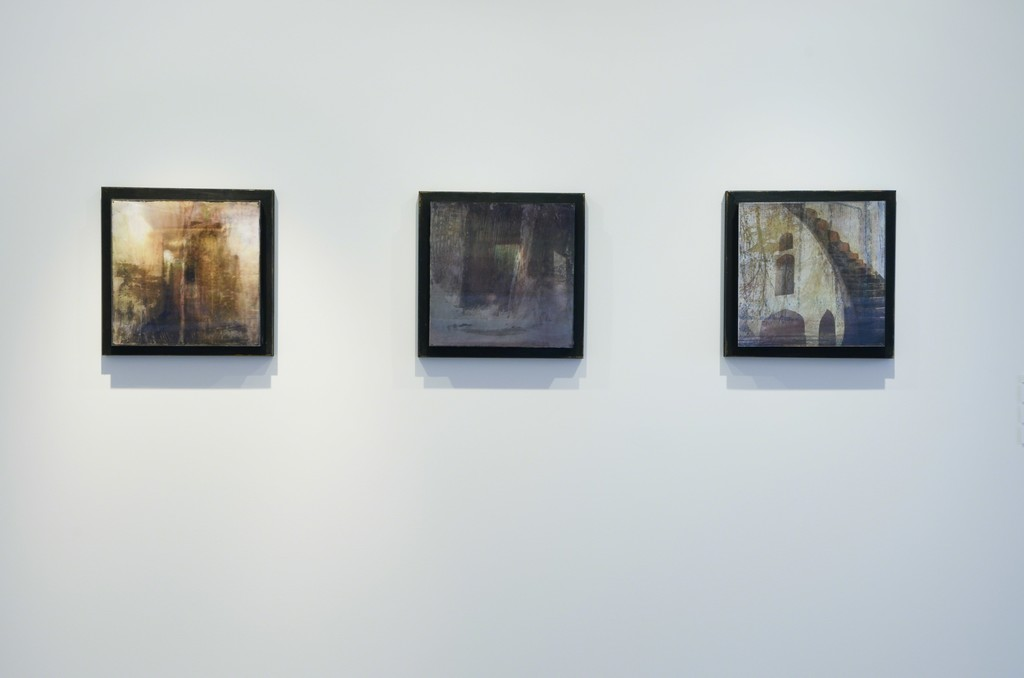 """From left to right: Dorothy Simpson Krause, """"Mingled Measure,"""" """"Fragments Vaulted,"""" and """"Deep Romantic Chasm,"""" each 2010, lenticular print with mixed media, 14 x 14 x 3 in.  Installation view at 571 Projects, Stowe, VT"""