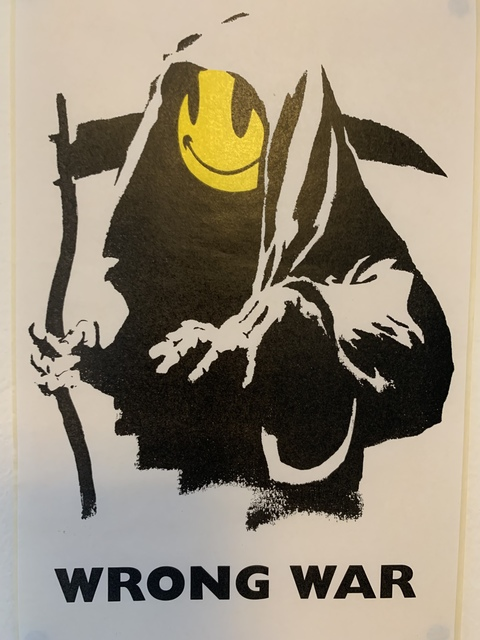 "Banksy, 'BANKSY ""WRONG WAR"" GRIN REAPER STICKER & COA FROM LAZINC', ca. 2003, Arts Limited"