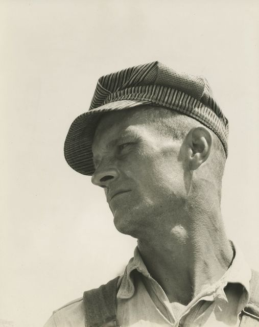 Walker Evans, 'Construction worker, Louisiana', 1936, Photography, Gelatin silver print; printed c.1936, Howard Greenberg Gallery