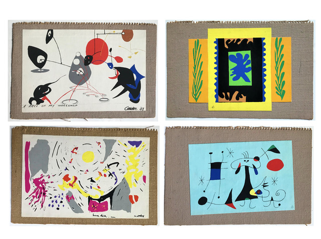 "Alexander Calder, '""Mural Scrolls"", WALLPAPER SAMPLE PORTFOLIO, 1949,  by Matisse, Calder, Miro, and Matta, 4- Silkscreens on Canvas/Burlap, with Original Folders, MUSEUM QUALITY, VERY RARE', 1949, VINCE fine arts/ephemera"