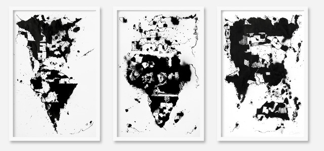 , 'World Map 2 triptych,' 2014, Make Your Mark
