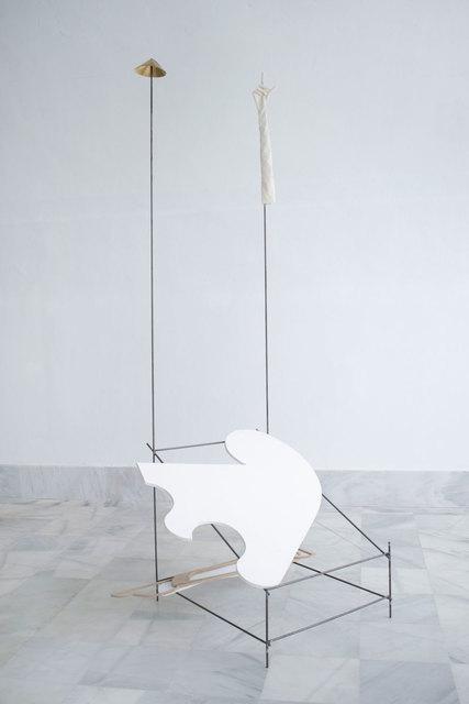 Fuentesal & Arenillas, 'BRILLANTE BREVE VIDA I', 2020, Sculpture, Iron, brass, medium density wood, enamel and fabric, F2 Galería