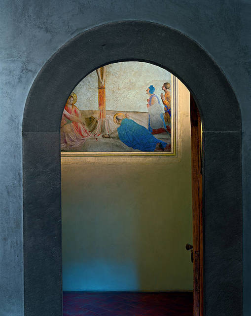 , 'Crucifixion with Saint Dominic prostrate on the floor, by Fra Angelico, Museum of San Marco Convent, Florence, Italy,' 2010, Flowers