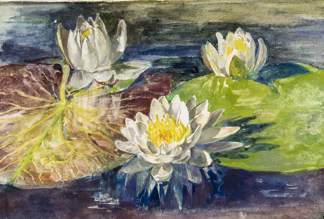 John La Farge, 'Water Lilies with Red and Green Pads: Study from Nature', Hirschl & Adler