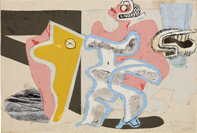 Le Corbusier, 'Composition from the series Deux figures au tronc d'arbre jaune,' 1937, Phillips: 20th Century and Contemporary Art Day Sale (November 2016)