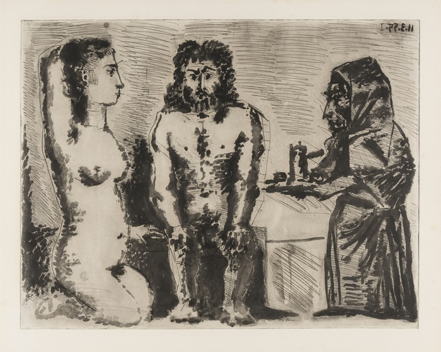 Pablo Picasso, 'Maison close: Le Chocolat. II (Baer 922i/iii)', 1955, Print, Rare sugar-lift aquatint, etching and engraving, Forum Auctions
