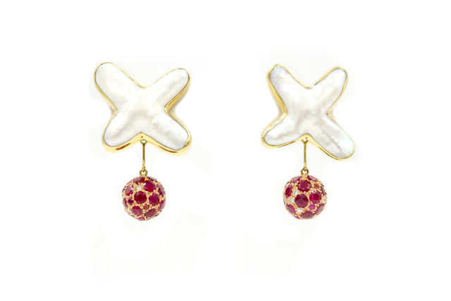 , 'Pearl and Ruby Earrings,' 2018, form & concept