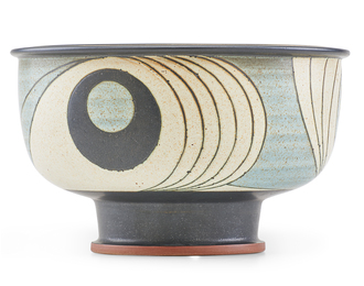 Fine large footed bowl with stylized waves, Claremont, CA