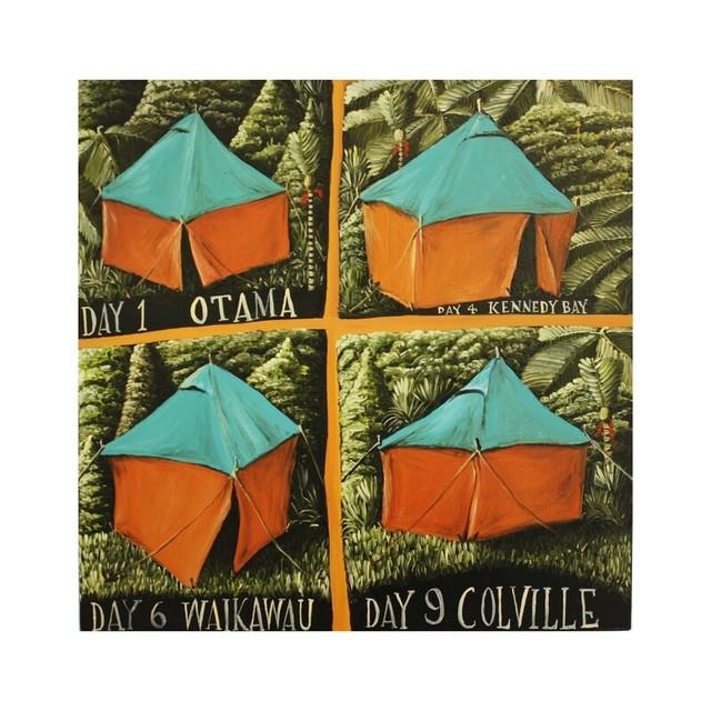 Mark Wooller, 'Coromandel Camping', 2020, Painting, Oil on Board, Black Door Gallery