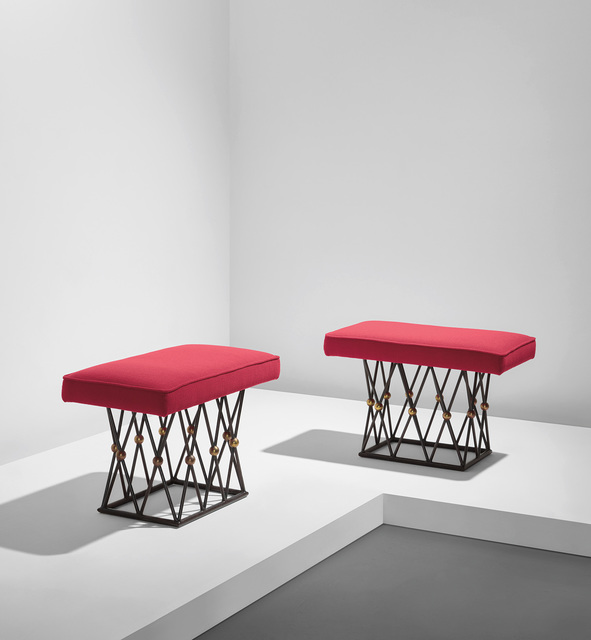 """Jean Royère, 'Pair of """"Mirabeau"""" stools', circa 1957, Phillips"""