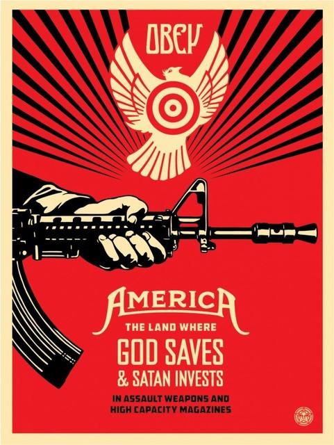 Shepard Fairey, 'God Saves & Satan Invests', 2019, AYNAC Gallery
