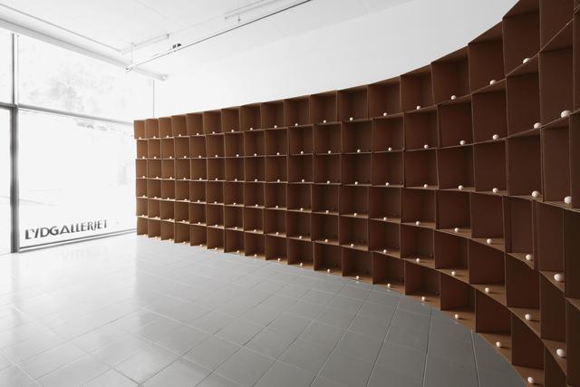 , '138 prepared dc-motors, cotton balls, cardboard boxes 40x40x40cm,,' 2011, bitforms gallery