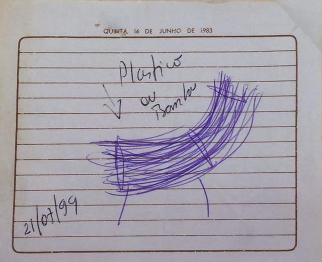 , 'Desenho cadeira de plástico ou bambú contido no caderno de desenho W,' , Baró Galeria