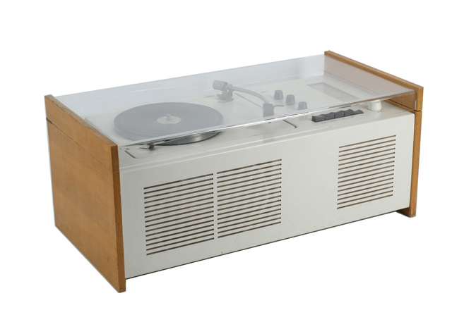 Braun, '1960s model SK 55 Radio-Phonograph Combination Player', Design/Decorative Art, With vinyl record player, three band radio, in light grey enamelled steel, beech wood sides, and plexi-glass lid, Chiswick Auctions
