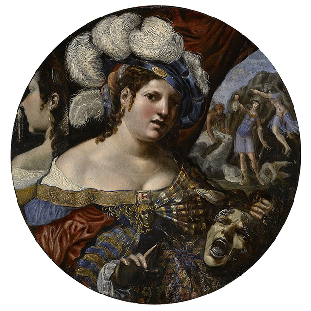, 'A sorceress with the Head of Medusa, the birth of Pegasus in the background,' 1600-1650, Carlo Orsi - Trinity Fine Art