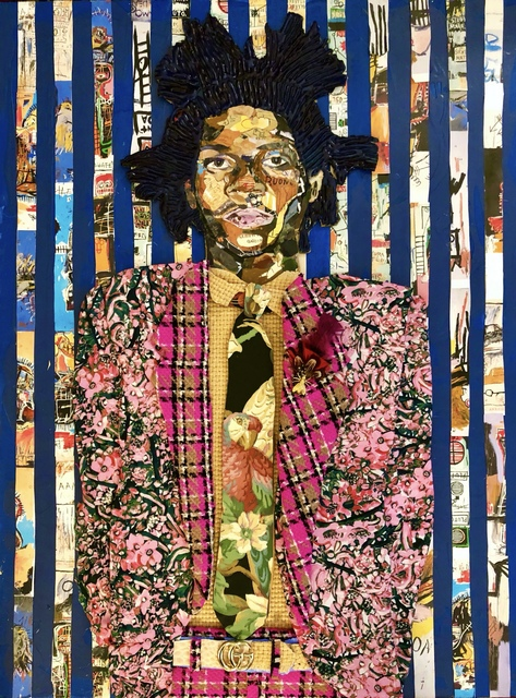 Miles Purvis, 'Jean-Michel', Painting, Collage, resin, panel, Miller Gallery Charleston