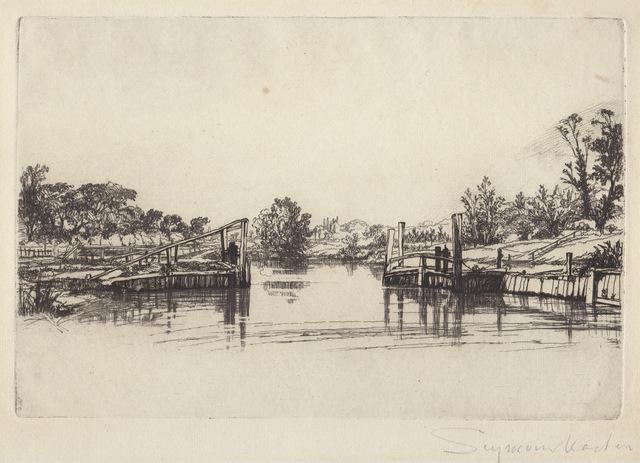 Francis Seymour Haden, 'Egham lock', 1859, Hans den Hollander Prints
